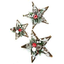 Christmas Gift Decorations Pinecone Rattan Stars Innovative Party Window Christmas Holiday