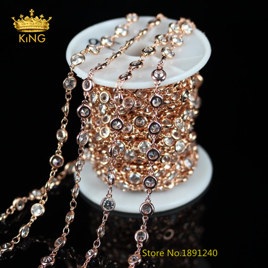 5Meters Lot,4mm,6mm,Rose Gold Plated Wire Wrapped Links Chain Necklace Findings,Flat Round Zircon Beads Fashion Bracelets,KS-23