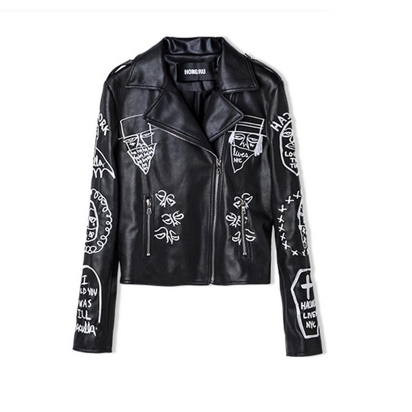 De Mode Cuir Femelle Punk Black Wj964 Imprimé Slim Gros Style En Marque Pu Vêtements Moto 2017 Veste Street 1Y8xXHH
