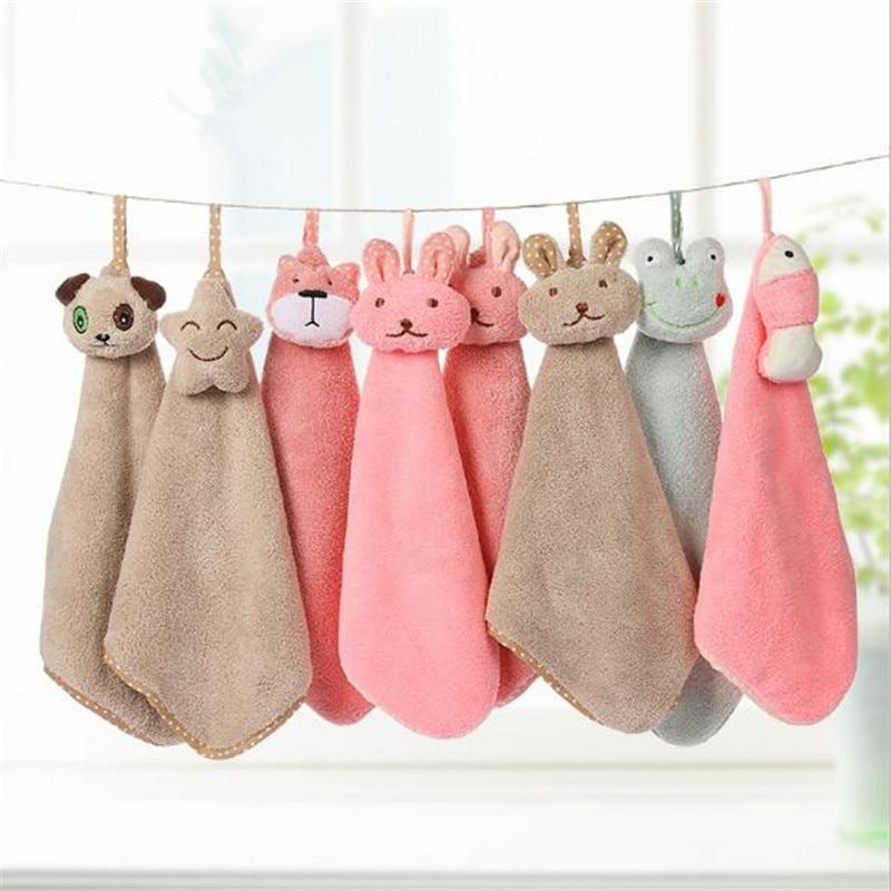 1PC Hand Towel Cartoon Animal Towel For Kids Chidren Microfiber Absorbent Hand Dry Towel Kitchen Bathroom Soft Plush Dishcloths