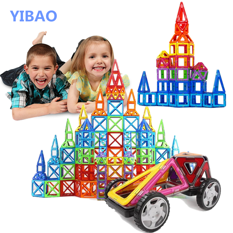 YIBAO Big Size Magnetic Designer Construction Set 20 80Pcs Model Building Blocks Toy Magnets Magnetic Educational Toys For kid in Blocks from Toys Hobbies