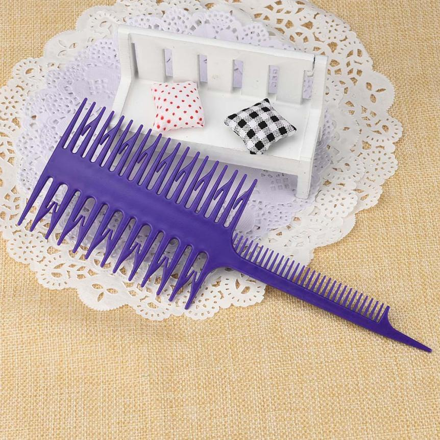 Style Beauty Salon Barber Hair Comb With Fish Tail Bone Shape Purple Comb Dyeing Tool No ...