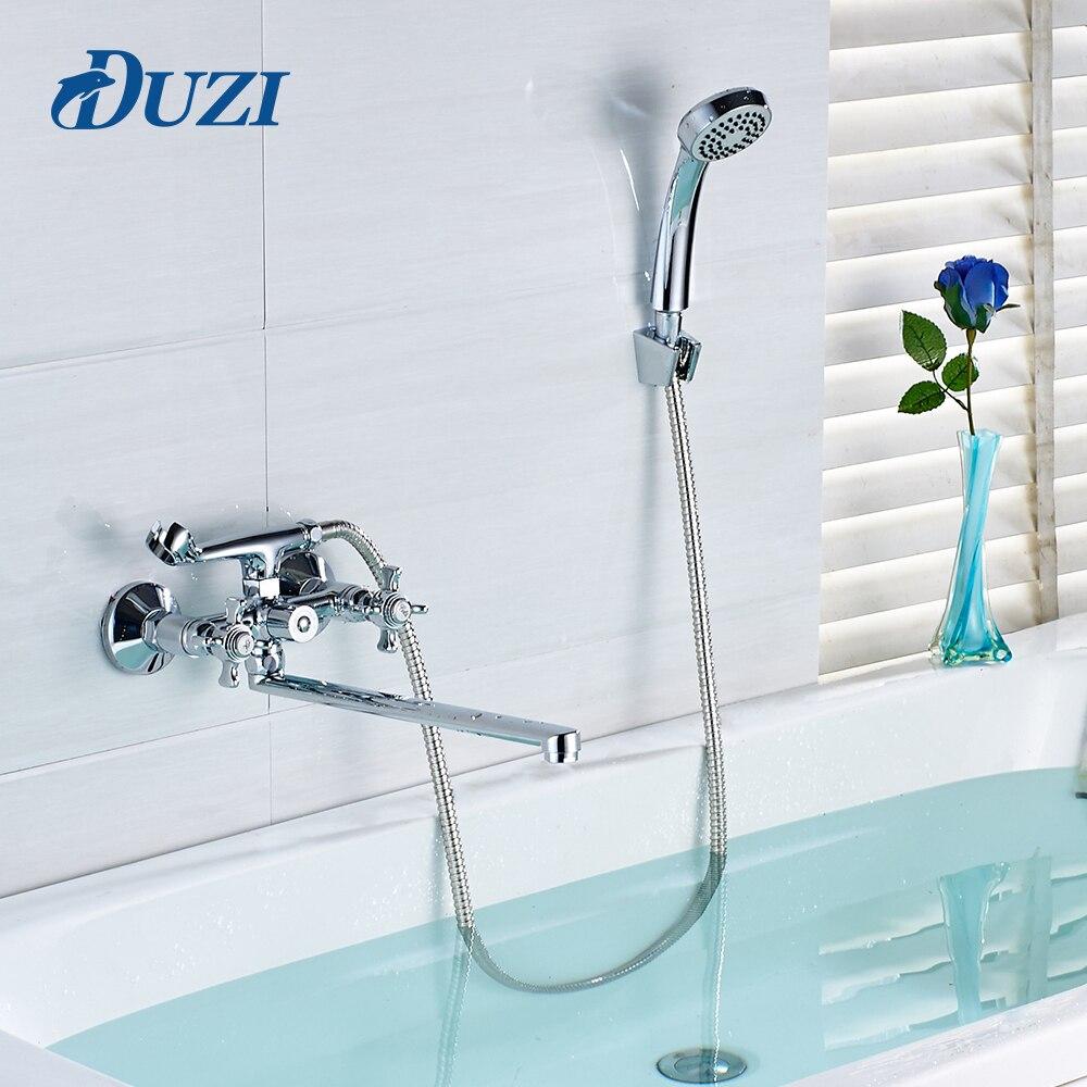 Duzi специальные Дизайн Ванная комната душа Установить Chrome полированной настенное крепление холодной и горячей длинный нос Outlet латунь душ см…