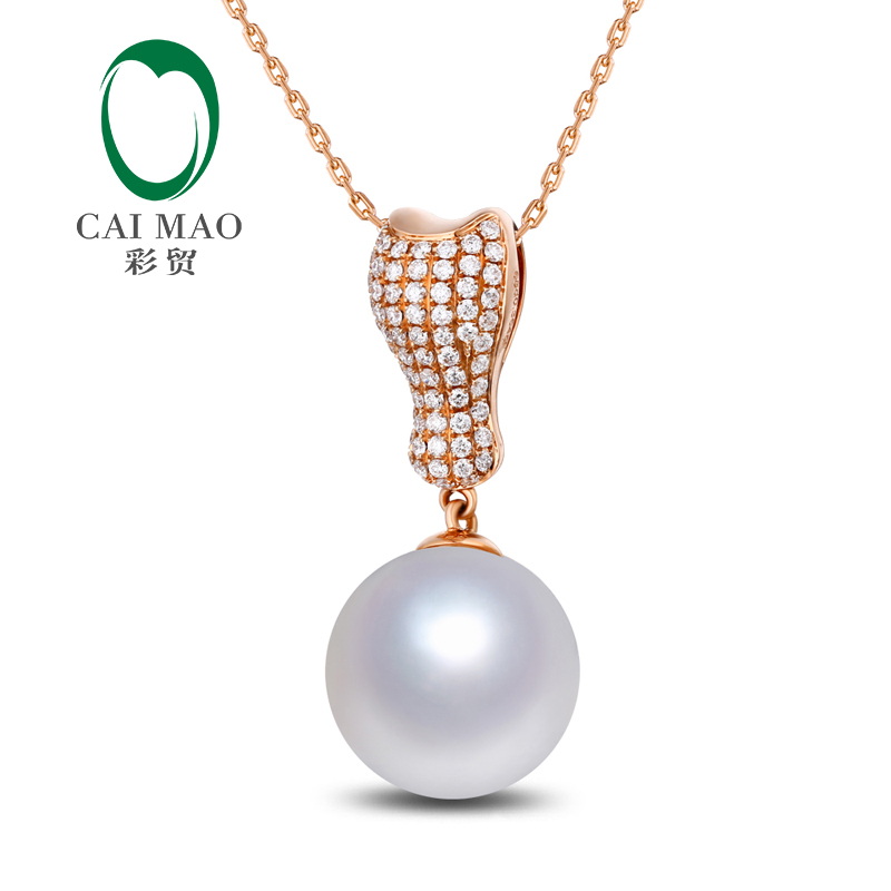 Free shipping 11mm Round SouthSea Pearl 14k Rose Gold New Classic Engagement Diamond Pendant For PartyFree shipping 11mm Round SouthSea Pearl 14k Rose Gold New Classic Engagement Diamond Pendant For Party
