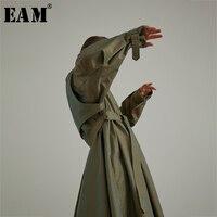 [EAM] Высокое качество 2018 осень длинный рукав отложной воротник регулируемый пояс простые свободные длинное пальто новые модные Для женщин