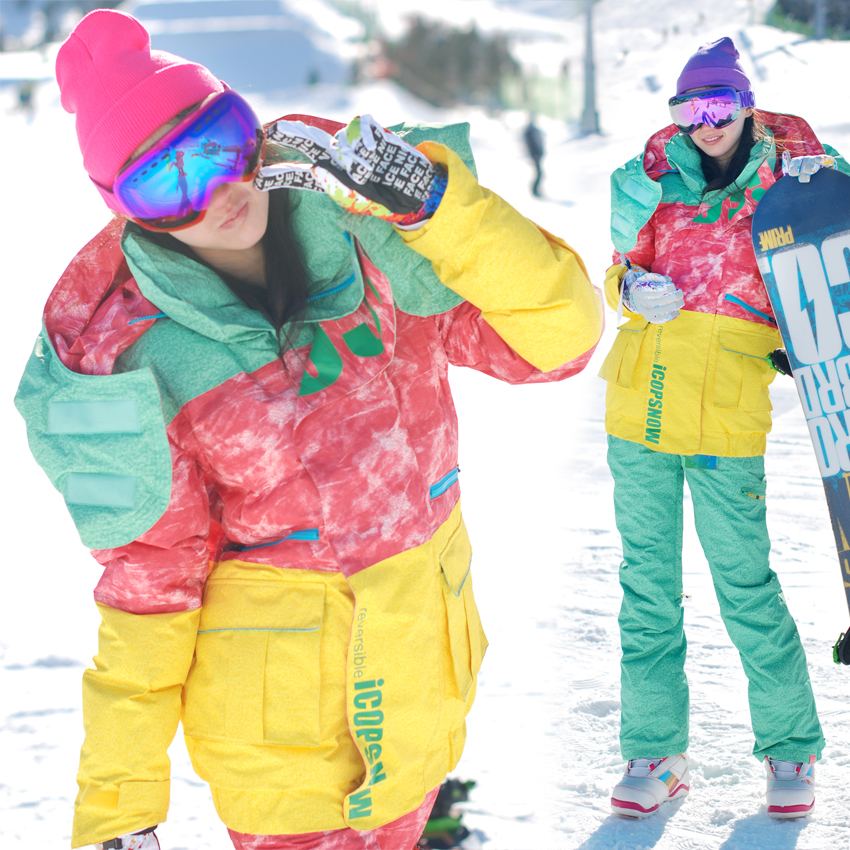 цена на Ski Jacket Winter Korean Spell Color Models NAPPING Replica Women Windproof Warm Outdoor Sport Snow Snowboard