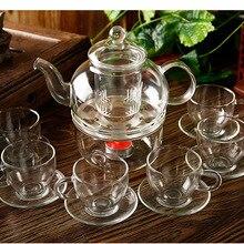 1 Набор, утолщенный термостойкий стеклянный чайник, портативный чайник из боросиликатного стекла с фильтром, чайник с подогревом, набор кофейных чайников JO 1051