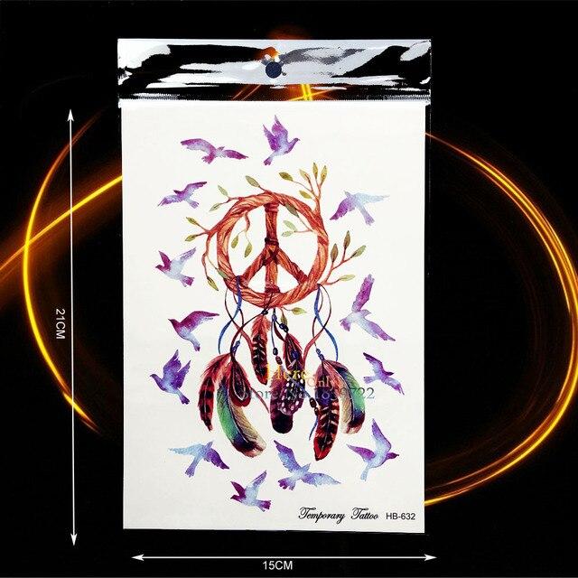 Frieden Vogel Feder Traumfanger Tattoo Sticker Frauen Henna Body Art