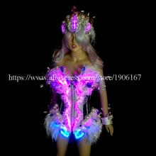 Fashion Led Luminous Ballroom Women Costume Sexy Lady Dancing Nightclub Party Stage Dress Clothing With Headwear
