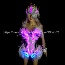 Fashion Led Luminous Ballroom Women Costume Sexy Lady Dancing Nightclub Party Stage Dress Clothing With Headwear