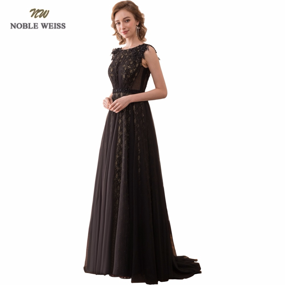NOBLE WEISS Sexy A-Line Evening Dresses Beading Appliques Lace Prom Gown Robe de Soiree 2019 Formal Special Occasion Gowns