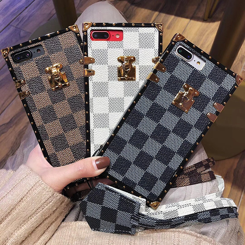 Phone Cases For SamSung Galaxy S8 S9 PLUS S8 All-inclusive Square leather Cover and lanyard Vintage Lattice New Protective Cover