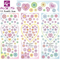 HOT166-168 KADS Top Sell Beautiful Flowers And Colorful Lace Heart Water Transfer Nail Sticker Romantic Design for Nail Sticker
