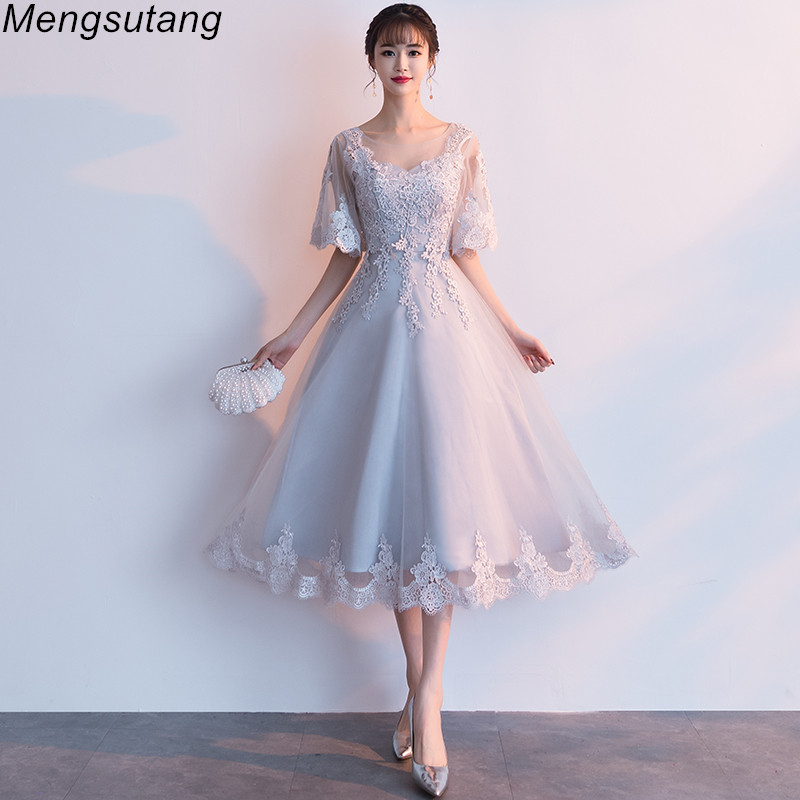 Robe De Soiree New Arrival Gery Luxury O-Neck Half Sleeve Embroidery Lace Up Evening Dresses A-line Tea Length Formal Dress