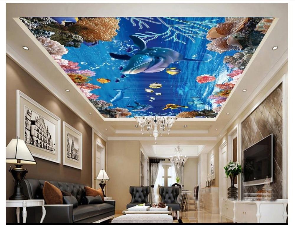 Custom Photo Wallpaper 3d Ceiling Murals Underwater World