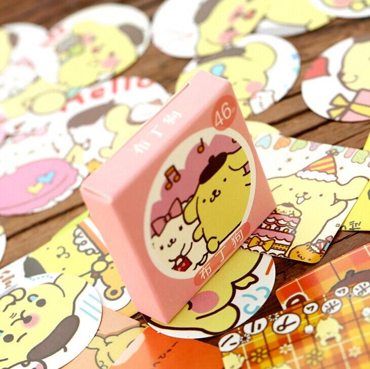 46 Pcs/pack Cute Yellow Pudding Dog Label Sticker Decorative Stationery Stickers Scrapbooking DIY Diary Album Stick Lable TA207