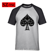 Custom Tee Shirts Men's Short Sleeve New Arrival Summer Style Clothing 30 colors Ace Of Spade Floral Tribal Spades Poker T Shirt contrast drop shoulder tribal sleeve tee