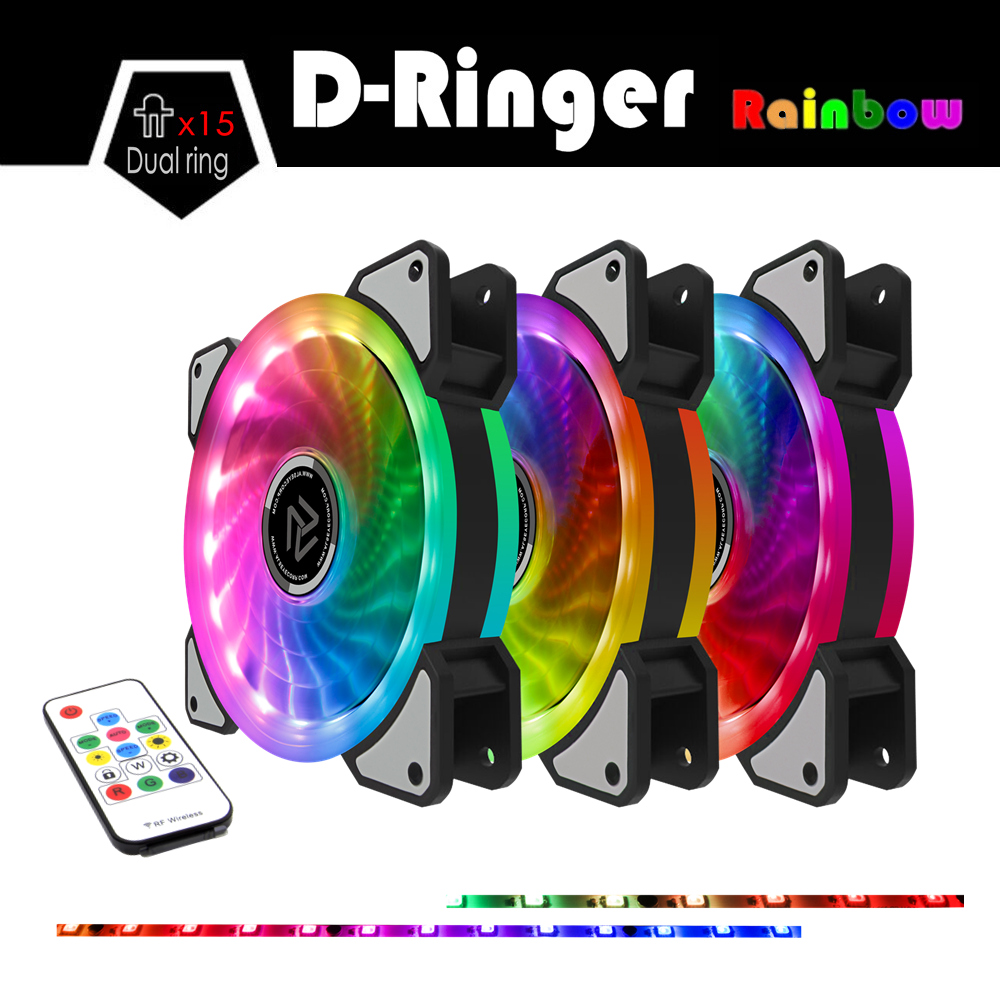 ALSEYE RGB Rainbow Computer Cooling Fan 120mm Dual LED Ring Multicolor Adjustable Fans Remote Control Dozens Modes LED Quiet Fan самокат novatrack rainbow 120 red складной 120rainbow rd7