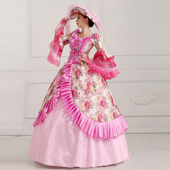pink flowers ruffled floral printing ball gown with hat medieval dress Renaissance Gown princess cos Victorian/Marie Antoinette