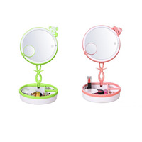 Mini LED Infrared Induction Makeup Mirrors Light USB Charging Travel Storage Box Green Pink 19cm 19cm