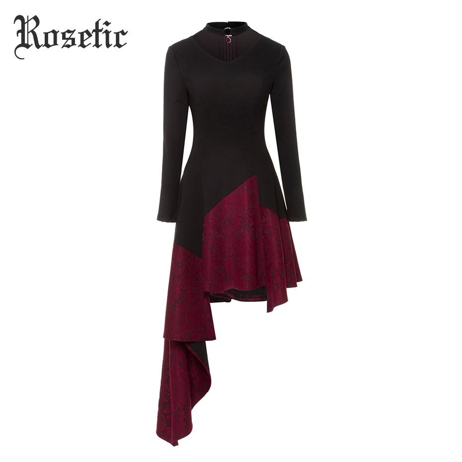 Rosetic Gothic Dress Women Spring Asymmetrical Choker Vintage Black Elegant Autumn Patchwork Fashion Ball Party Goth Dresses