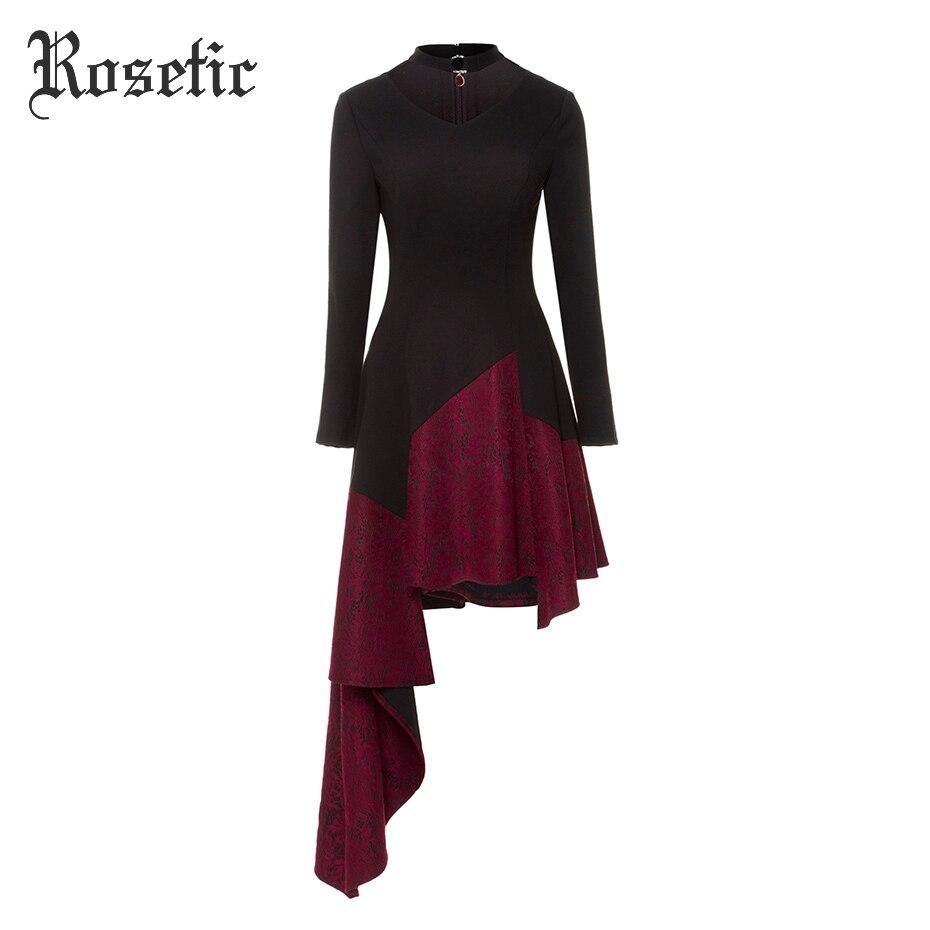 Rosetic Gothique Robe Femmes Printemps Asymétrique Foulard Vintage Noir Élégant Automne Patchwork De Mode Partie de Boule Robes Goth