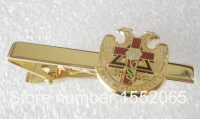 Wholesale Customized Masonic Fashion Men's Neck Scottish Rite Rose Croix Cross 32 Degree Tie Clip Bar Masonry Tie Bar Pin