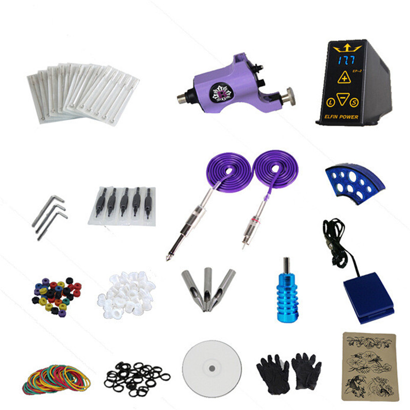 Tattoo Machine Kit With EP-2  Power Supply Professional Complete 1 Pro Rotary Tattoo Gun Kit Grips Tip 14 Colors Pigment Inks