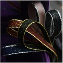 3/8(10mm) High Quality Golde / Silver Edge Polyester Ribbon 10yards,Bow DIY Handmade Materials,wedding Gift Wrap