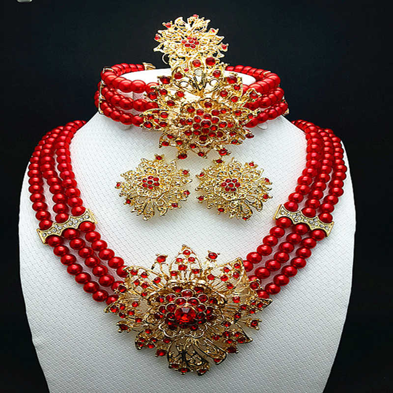 2018 Good quality Rhinestone Dubai Ethiopian gold color Nigerian wedding african beads jewelry set women parure bijoux Plaque