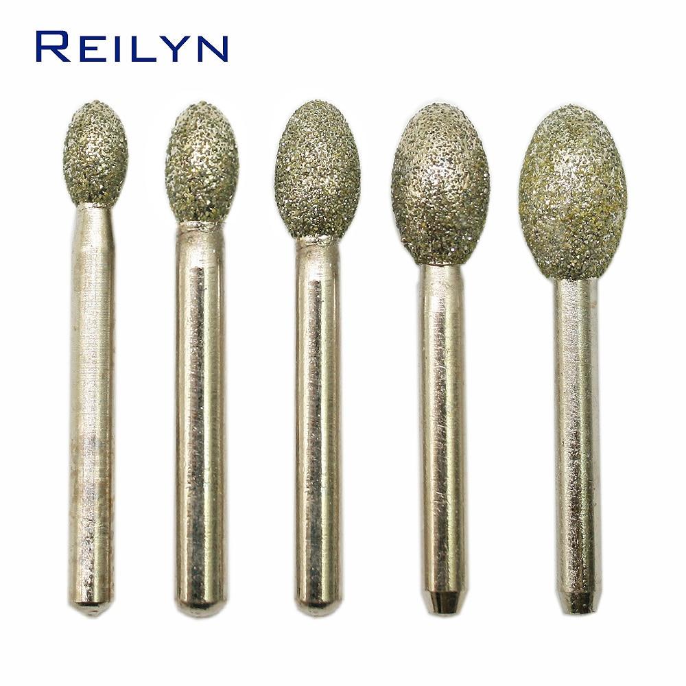 Grinding Head 1pc 46# 6x6mm 6x12mm 6x20mm Emery Grinding Points Diamond Abrasive Bits Jade Grinding Burr Machine Abrasives