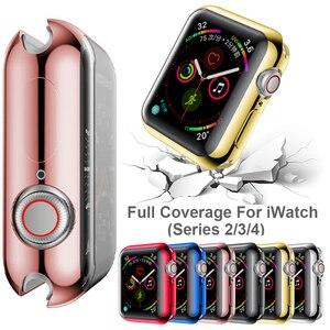 Image 3 - Moda 360 stopni wąski zegarek pokrywa dla Apple Watch 3/2 42MM 38MM Case miękka przezroczysta osłona na ekran z tpu dla iWatch 4 44MM 40MM