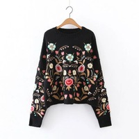 2018 Autumn Winter European And American Wind New O Neck Flower Embroidery Long Batwing Sleeve Pullovers Knitted Sweatshirts