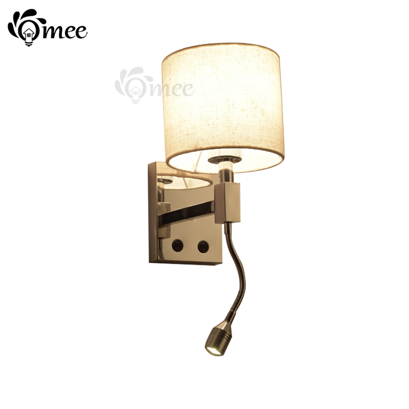 Bedroom Study Wall Light Bedside Reading Wall Lamp Living Room E27 Wall Lamps Beige Fabric