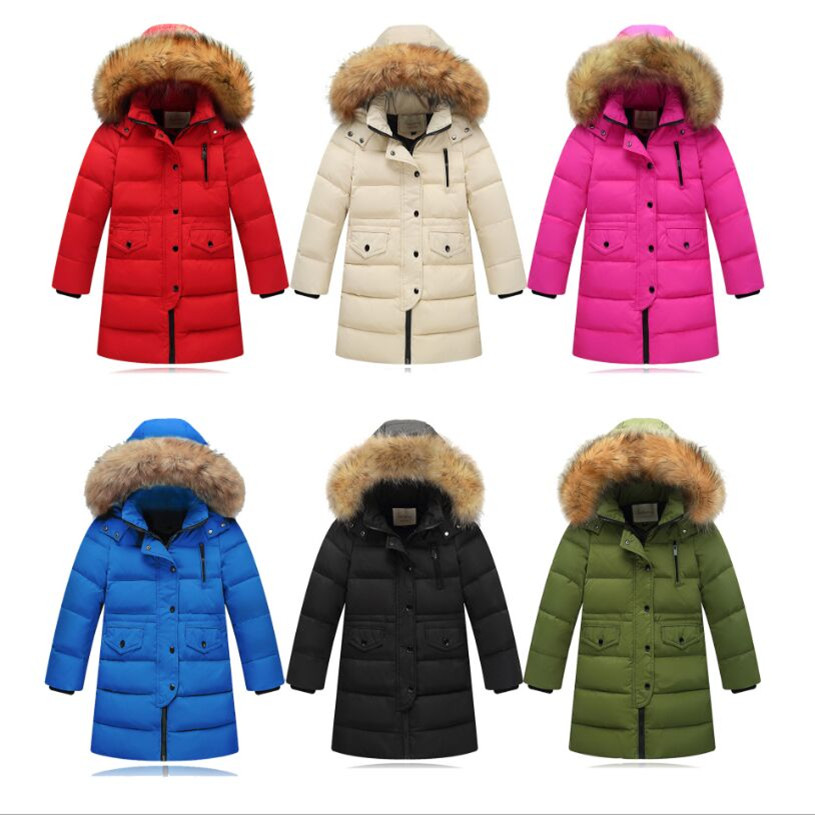 Children Down Jacket 2018 New Fashion Hooded Long Thick Big Fur Collar Boys Girls Children Coat Down & Parkas Fit 3-11Y 2017 winter women jacket down new fashion long sleeve hooded thick warm short coat slim big yards female autumn parkas ladies242