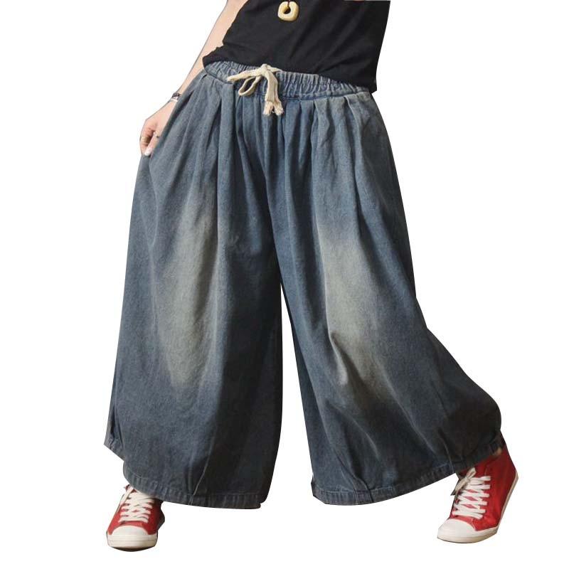 De Tamaño Mujeres Vaqueros Jeans Algodón Más Flojo Las La Y Pierna Pantalones Personalidad Ancha Primavera Azul Otoño Casual tRntw8HqU