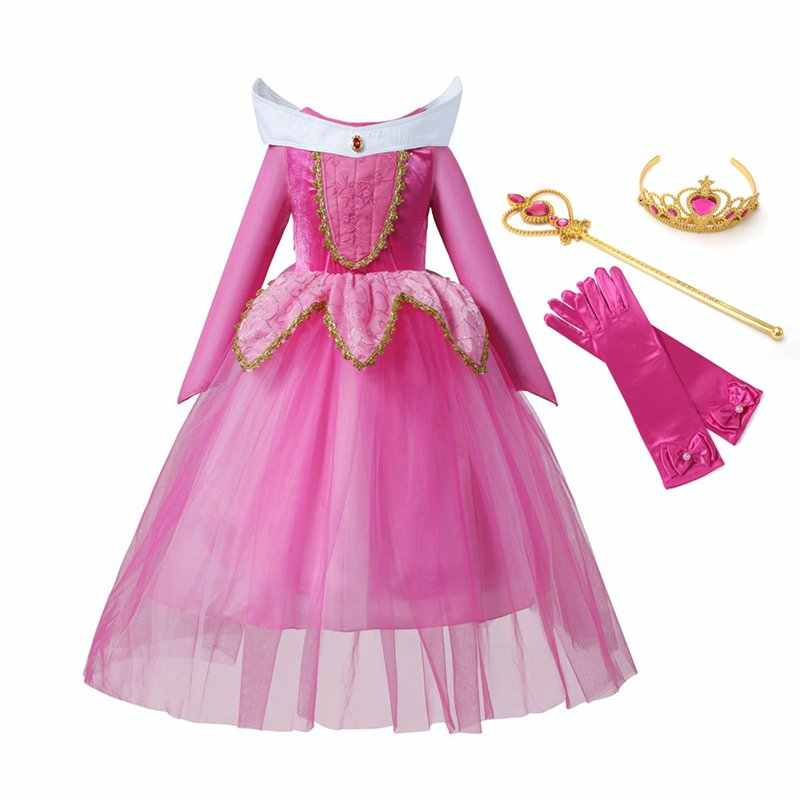 Bela Adormecida Princesa Aurora VOGUEON 4 Camadas Cosplay Dress up Costume Party Manga Comprida Vestido Longo Presente de Aniversário do Dia Das Bruxas