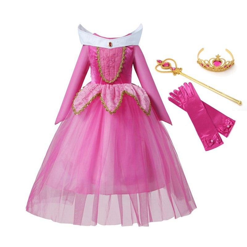 VOGUEON Bella Durmiente princesa Aurora vestido de fiesta disfraz de manga larga 4 capas Cosplay vestido largo Regalo de Cumpleaños de Halloween