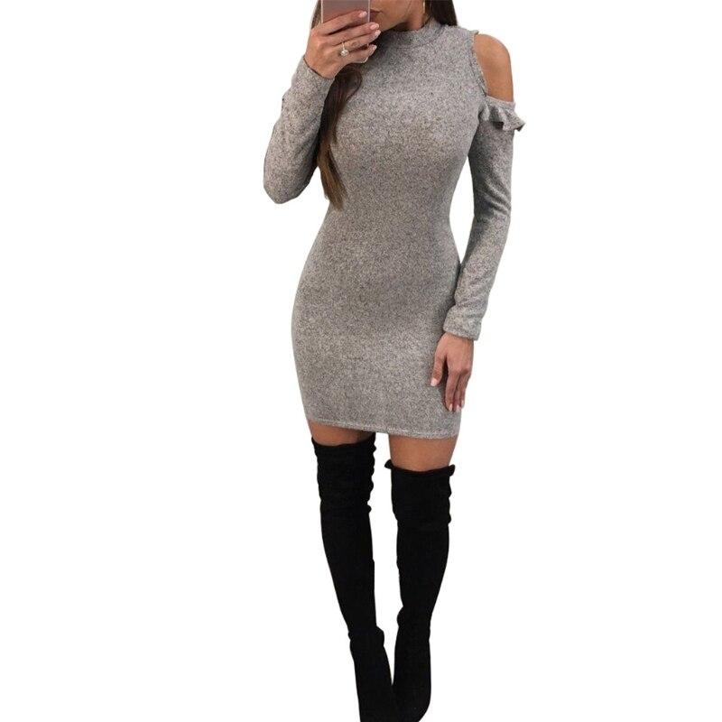 New Women Long Sleeve Cold Shoulder Mini Dress Slim Bodycon Knitted Sweater Jumper Knitwear Mini Dress 2018 Soft Solid Dress drop shoulder bell sleeve jumper sweater
