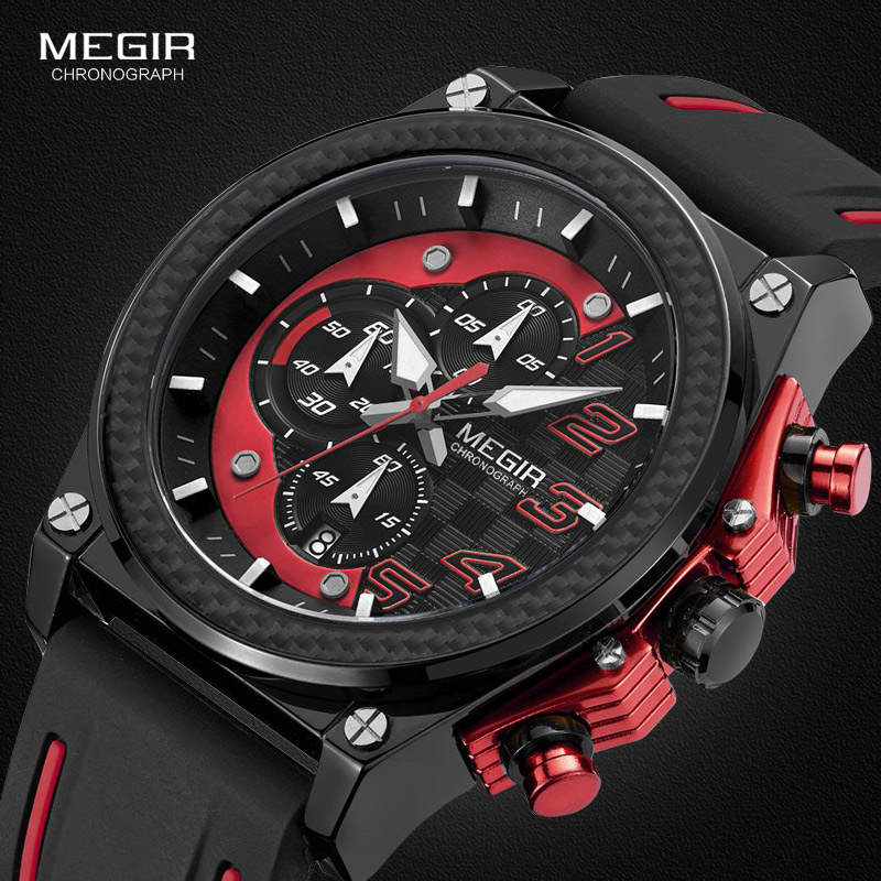 Megir Men's Chronograph Quartz Watches For Male Waterproof Luminous Wristwatch With Rubber Strap For Boys Man 2051G-1N8