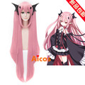 100cm Long Straight Pink Seraph of the end Cosplay Hair Krul Tepes Wig Clip On Ponytails Synthetic Anime Cosplay Wig+2Ponytails