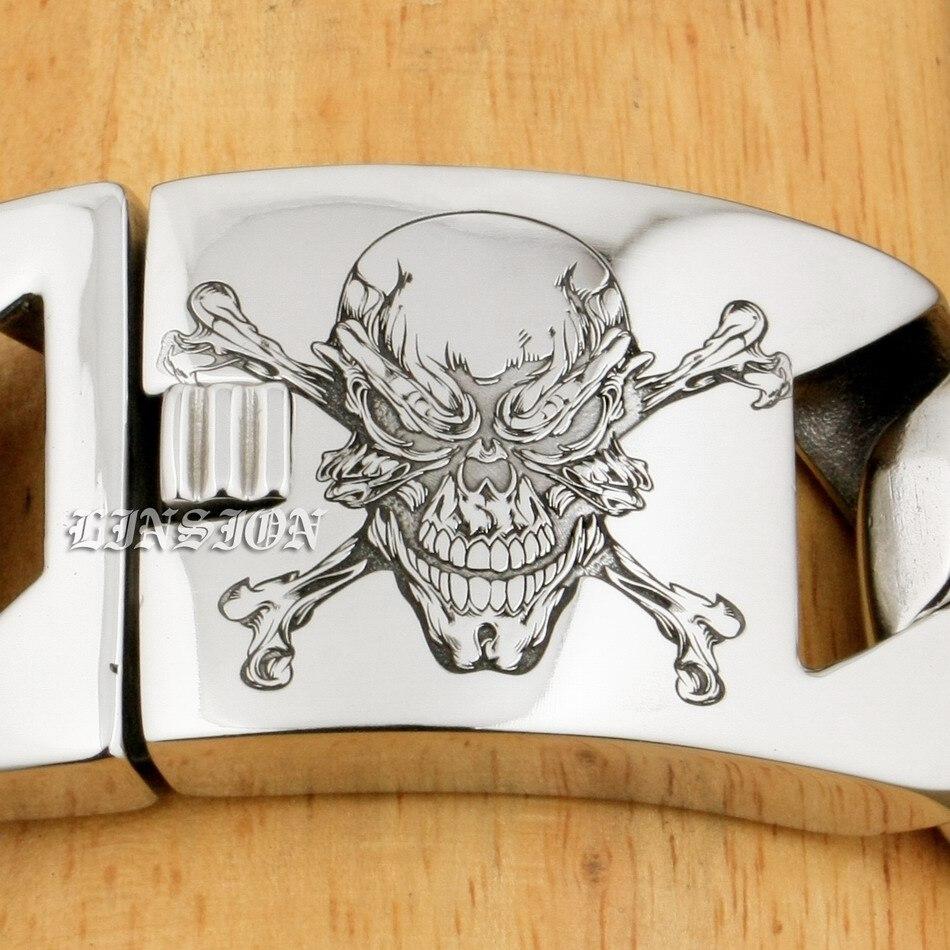 LINSION 6 Lengths Deep Laser Engraved Pirate Skull Huge Heavy 316L Stainless Steel Mens Biker Rock Punk Curb Link Bracelet 5C104
