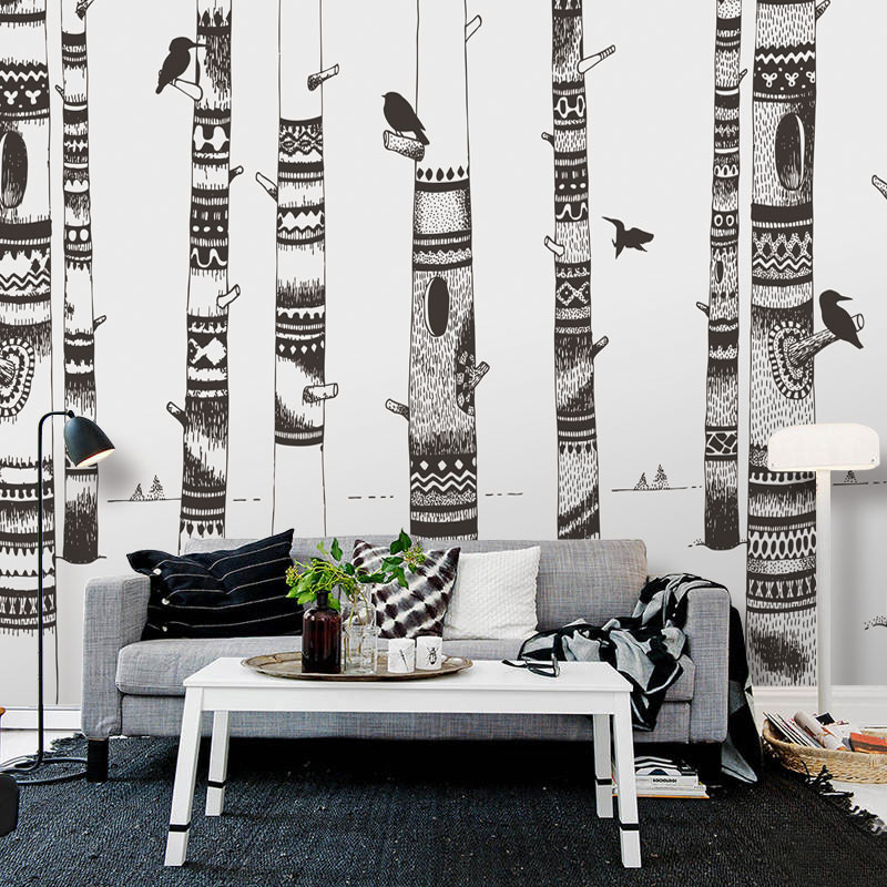 3D photo wallpaper 3D mural bedroom living room sofa TV background wall wallpaper black and white woodpecker wallpaper mural large mural living room bedroom sofa tv background 3d wallpaper 3d wallpaper wall painting romantic cherry