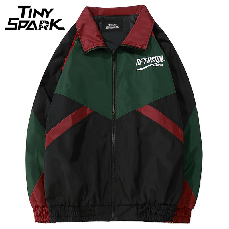 Color Block Patchwork Windbreaker Jackets Hip Hop Loose Track Coat No Hood Vintage Jackets Streetwear Casual Zip Up 2018 Autumn