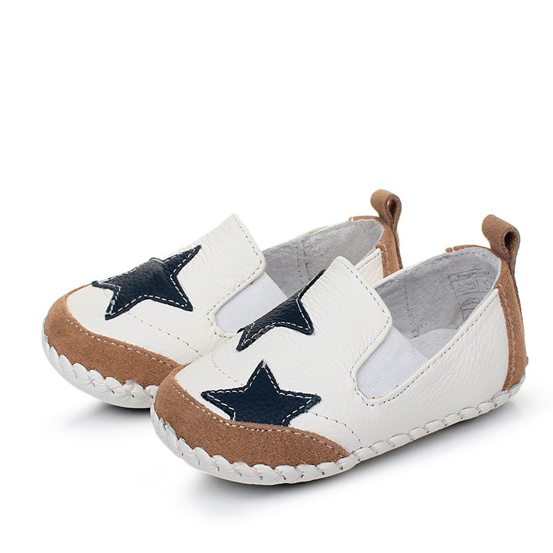 Baby Footwear Spring Autumn Baby Cowhide Shoes Toddler Boys Genuine Leather Shoes White Color Soft Soles First Walkers