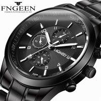 Men Black Metal Watch Business Stainless Steel Wrist Watches Fashion Male Black Watchband Clock Sport Waterproof