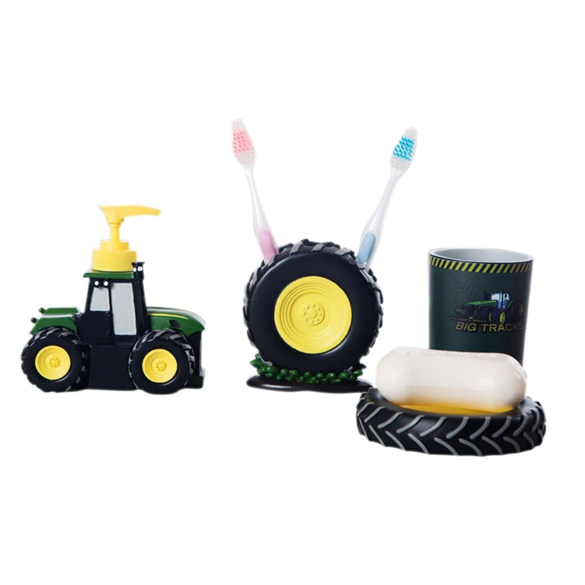 4 Pcs Kid Cartoon Bathroom Accessories Cute Tractor Bathroom ...