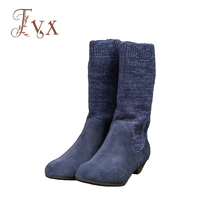 Tayunxing Handmade Genuine Leather Cow Suede Mid Calf Women Boots Plush Insole Warm Low Heel Winter