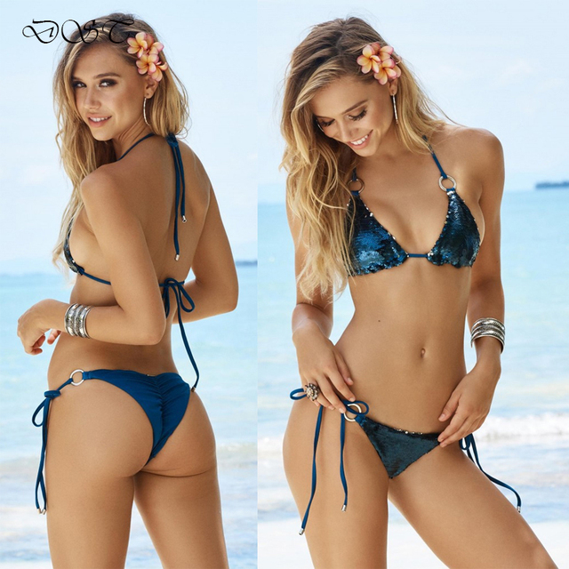 c2e739123ab7c 2018 Sexy Women Shiny Bikini Set Blink Bling Sequins Swimsuit Trikini Thong  Beach Party Wear Bathing Suit Brazilian Brasileira