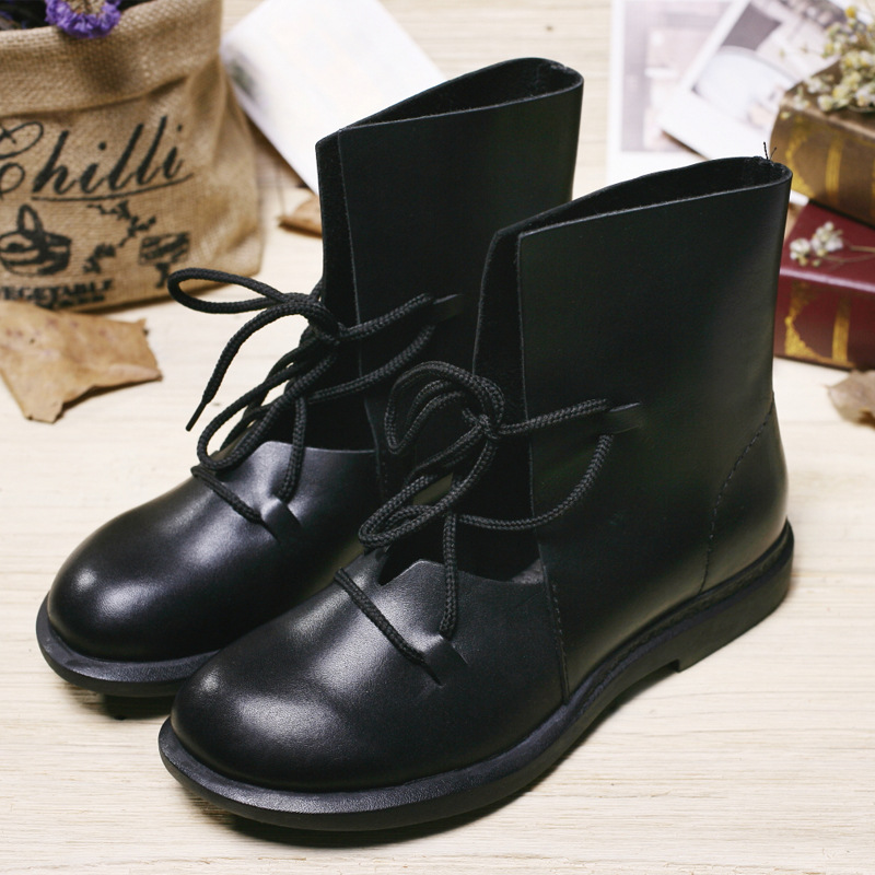 ФОТО Black Flat Ankle Boots For Women Genuine Leather Round Toe Lace up Autumn Shoes Thick Elastic Rubber Sole Mori Girl Boots (7889)